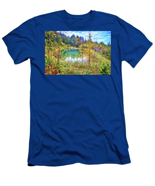 Men's T-Shirt (Athletic Fit) featuring the photograph Autumn Reflections At The Pond by Lynn Bauer