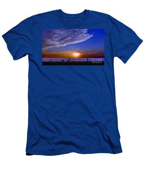 Men's T-Shirt (Athletic Fit) featuring the photograph Beautiful Sunset With Ships And People by Yali Shi