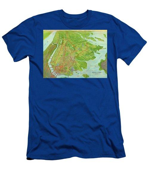 Borough Of Bronx, Birdview Map 1921 Men's T-Shirt (Athletic Fit)