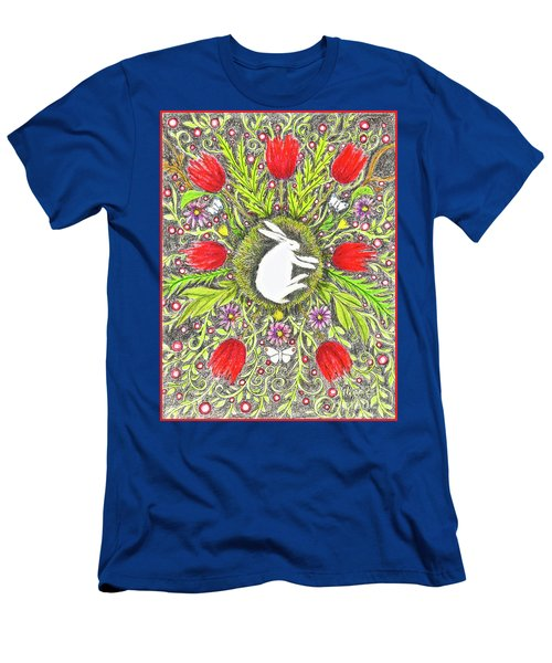 Bunny Nest With Red Flowers And White Butterflies Men's T-Shirt (Athletic Fit)