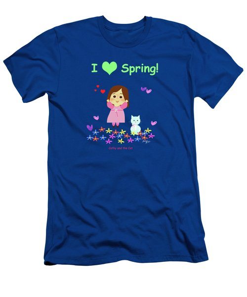 Cathy And The Cat I Love Spring Men's T-Shirt (Athletic Fit)