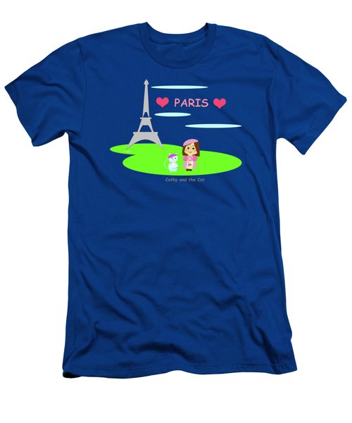 Cathy And The Cat In Paris Men's T-Shirt (Athletic Fit)
