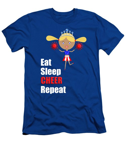 Cheerleader And Pom Poms With Text Eat Sleep Cheer Men's T-Shirt (Athletic Fit)