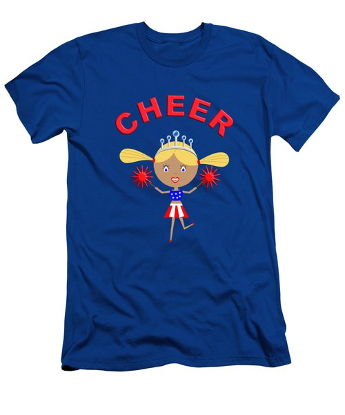 Cheerleader With Pom Poms And Cheer In Arched Text  Men's T-Shirt (Athletic Fit)