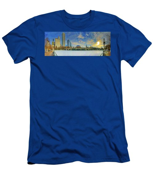 Men's T-Shirt (Athletic Fit) featuring the photograph Chicago Skyline Millennium Park Ice Rink by Tom Jelen