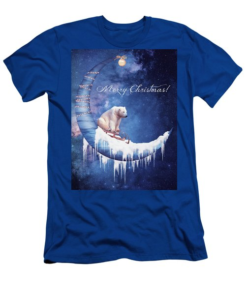 Christmas Card With Moon And Bear Men's T-Shirt (Athletic Fit)