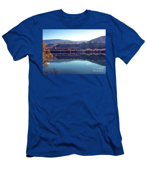 Men's T-Shirt (Athletic Fit) featuring the photograph Train Reflection by Mae Wertz