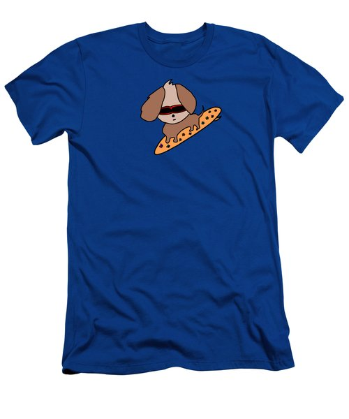Cute Dog On Surfboard Men's T-Shirt (Athletic Fit)