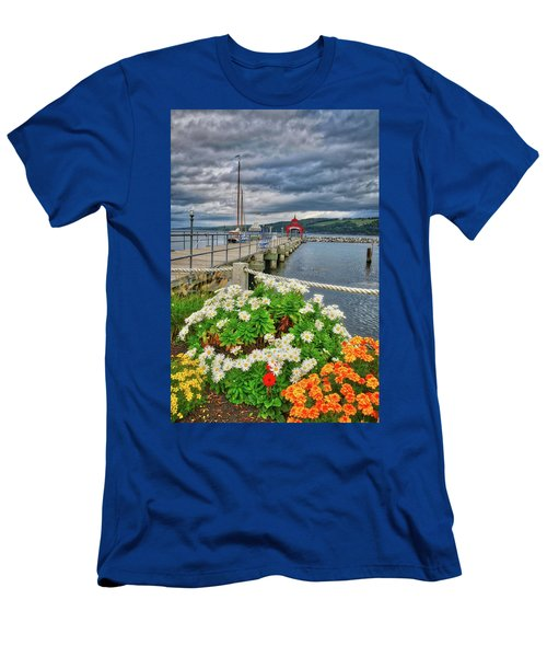 Men's T-Shirt (Athletic Fit) featuring the photograph Fall Flowers At Seneca Lake Marina by Lynn Bauer