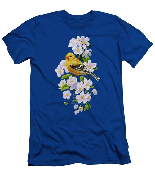 Female American Goldfinch And Apple Blossoms Men's T-Shirt (Athletic Fit)