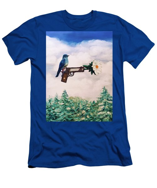 Flower In A Gun- Bluebird Of Happiness Men's T-Shirt (Athletic Fit)