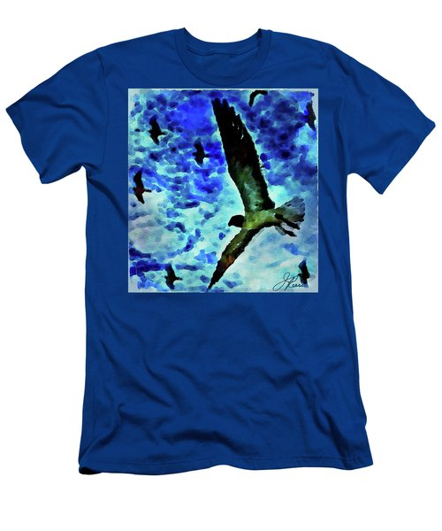 Men's T-Shirt (Athletic Fit) featuring the painting Flying Seagulls by Joan Reese