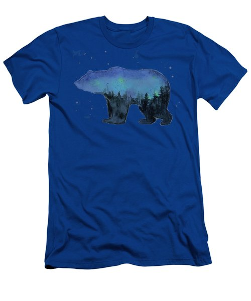 Forest Bear Watercolor Galaxy Men's T-Shirt (Athletic Fit)