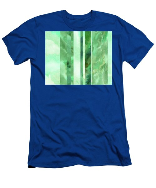 Glowing Green Lines Abstract Watercolor Decor  Men's T-Shirt (Athletic Fit)