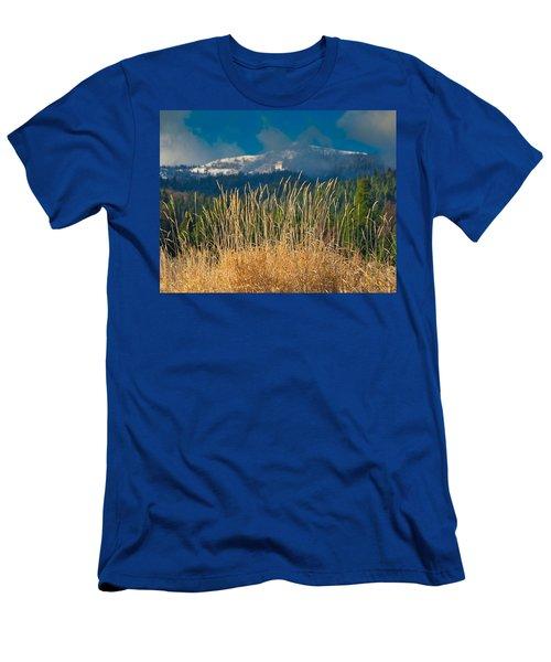 Gold Grass Snowy Peak Men's T-Shirt (Athletic Fit)
