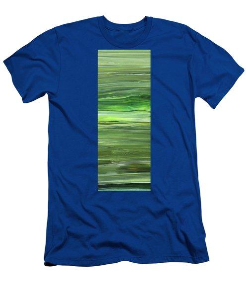 Green Abstract Meditative Brush Strokes IIi Men's T-Shirt (Athletic Fit)