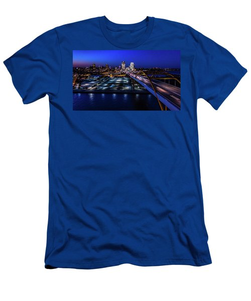Men's T-Shirt (Athletic Fit) featuring the photograph Hoan Bridge At Dusk by Randy Scherkenbach