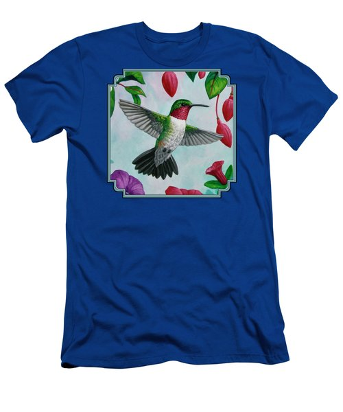 Hummingbird Flying In Spring Flower Garden 1 Men's T-Shirt (Athletic Fit)