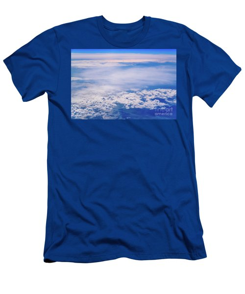 Intense Blue Sky With White Clouds And Plane Crossing It, Seen From Above In Another Plane. Men's T-Shirt (Athletic Fit)