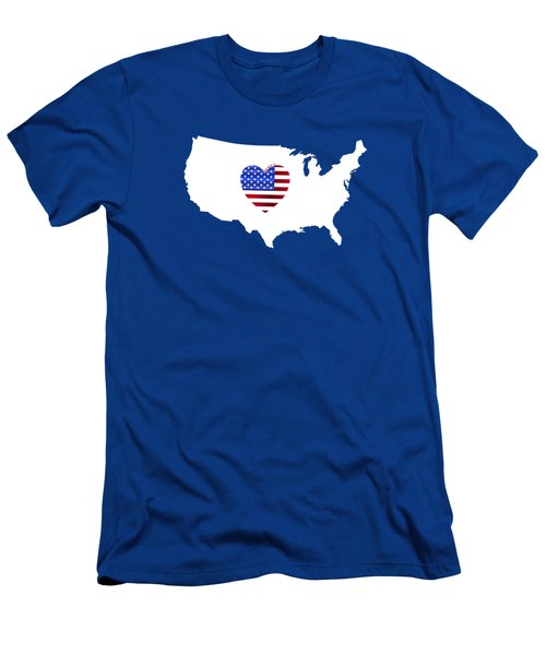 Love America Map Men's T-Shirt (Athletic Fit)