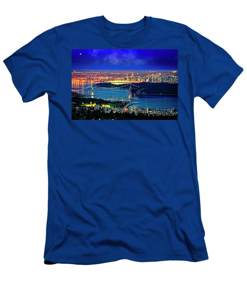 Men's T-Shirt (Athletic Fit) featuring the photograph Moon Over Vancouver by Scott Kemper