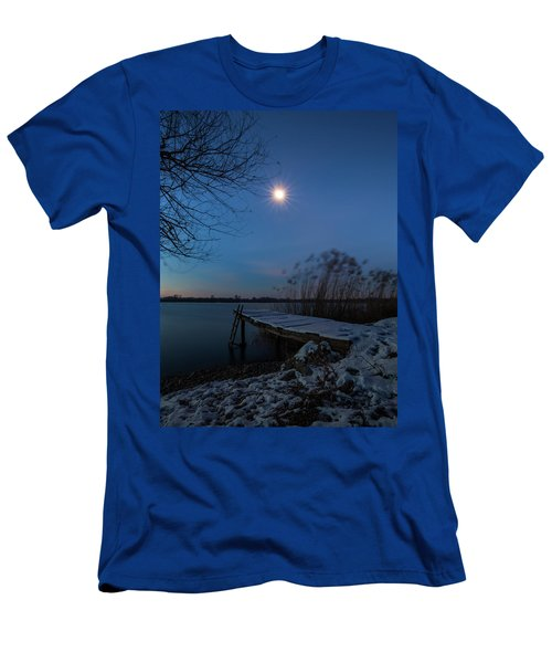 Men's T-Shirt (Athletic Fit) featuring the photograph Moonlight Over The Lake by Davor Zerjav