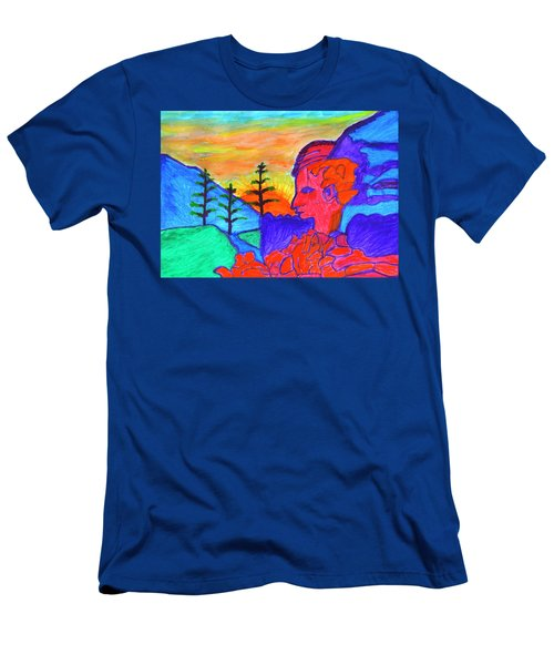 Mystical Rock With A Profile At Sunrise Men's T-Shirt (Athletic Fit)
