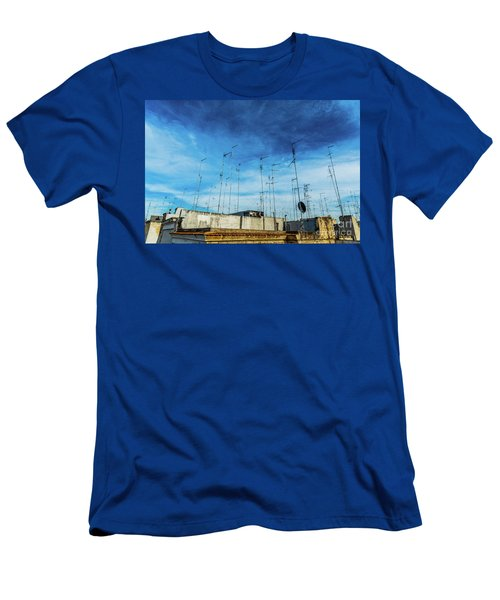 Old Buildings In The City Of Bari With Roofs Full Of Old Televis Men's T-Shirt (Athletic Fit)