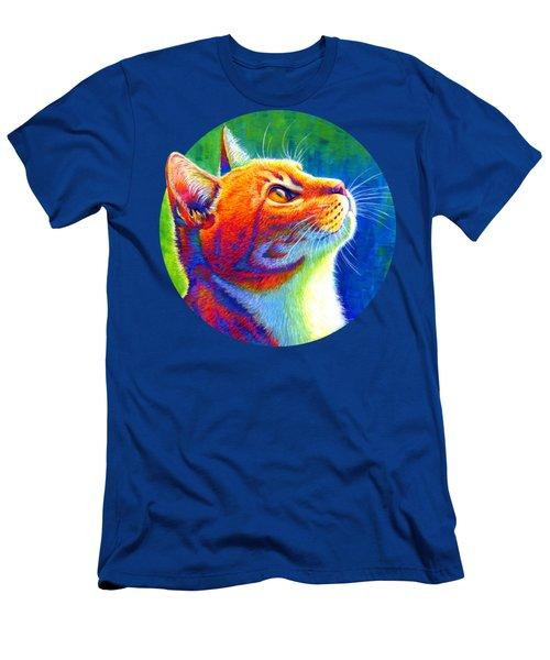 Rainbow Cat Portrait Men's T-Shirt (Athletic Fit)