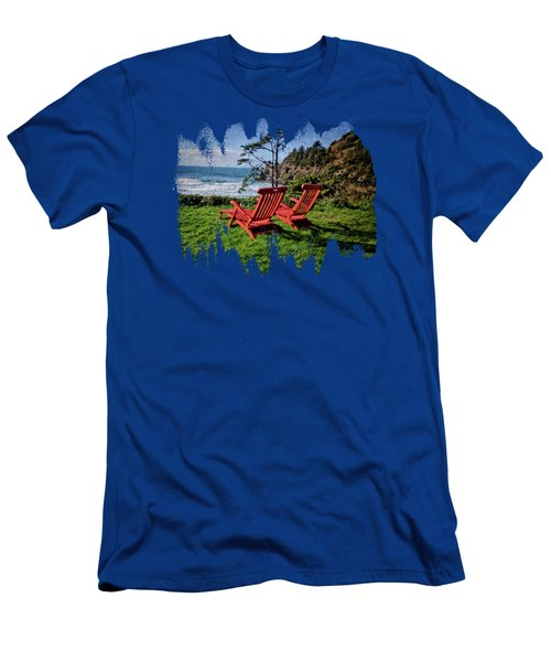 Red Chairs At Agate Beach Men's T-Shirt (Athletic Fit)