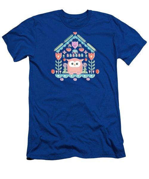 Scandinavian Folk Style Owl Bird House Men's T-Shirt (Athletic Fit)