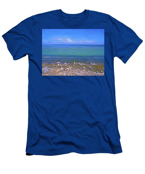 Men's T-Shirt (Athletic Fit) featuring the mixed media Season Of Blue Water 4  by Lynda Lehmann