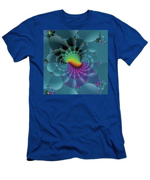 Slate Blue Fractal Men's T-Shirt (Athletic Fit)