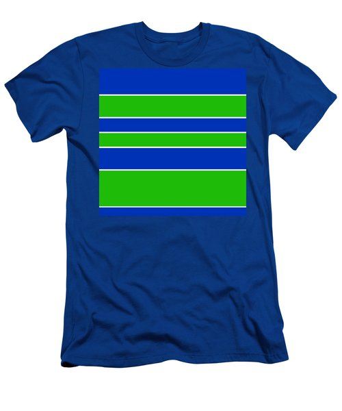 Stacked - Navy, White, And Lime Green Men's T-Shirt (Athletic Fit)
