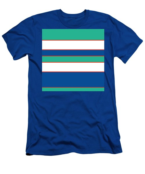 Stacked - Sea Foam, Orange, Navy And White Men's T-Shirt (Athletic Fit)