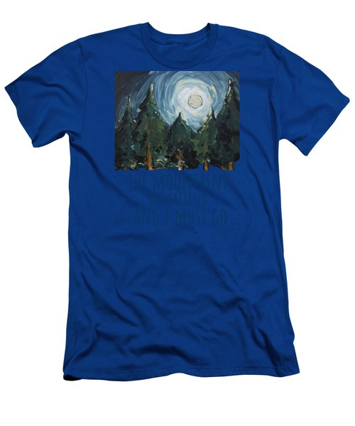 Men's T-Shirt (Athletic Fit) featuring the painting The Mountains Are Calling by Maria Langgle