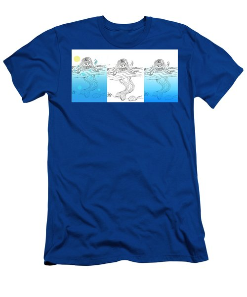 Three Mermaids All In A Row Men's T-Shirt (Athletic Fit)