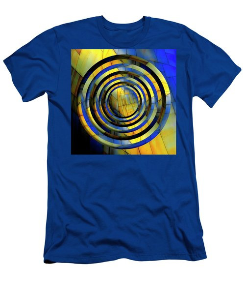 Yellow And Blue Metal Circles Men's T-Shirt (Athletic Fit)