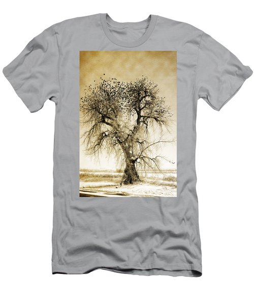 Bird Tree Fine Art  Mono Tone And Textured Men's T-Shirt (Athletic Fit)