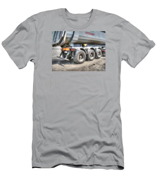 Men's T-Shirt (Slim Fit) featuring the pyrography  Workers At The Construction Site by Yury Bashkin