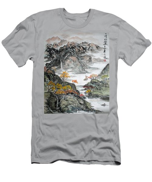 Men's T-Shirt (Slim Fit) featuring the painting Autumn  by Yufeng Wang
