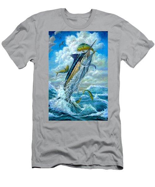 Big Jump Blue Marlin With Mahi Mahi Men's T-Shirt (Athletic Fit)