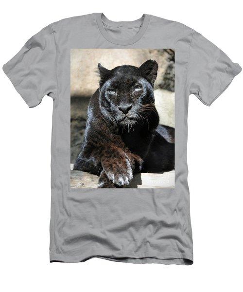 Black Leopard Men's T-Shirt (Slim Fit) by Savannah Gibbs
