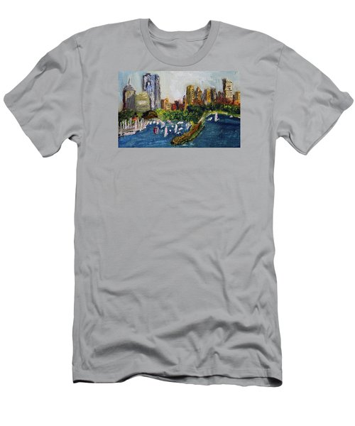 Boston Skyline Men's T-Shirt (Slim Fit) by Michael Helfen