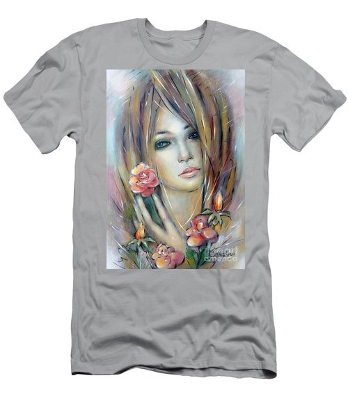 Doll With Roses 010111 Men's T-Shirt (Slim Fit) by Selena Boron