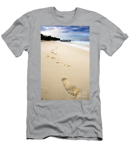 Footprints On Tropical Beach Men's T-Shirt (Athletic Fit)
