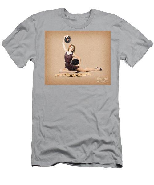 Glamorous Pinup Girl Holding Vinyl Lp Records Men's T-Shirt (Athletic Fit)