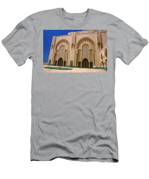 Men's T-Shirt (Slim Fit) featuring the photograph Hassan II Mosque Grand Mosque Sour Jdid Casablanca Morocco by Ralph A  Ledergerber-Photography