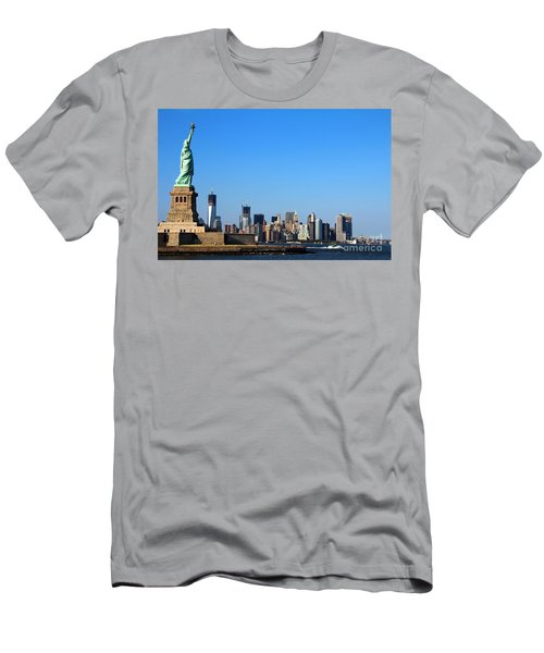Men's T-Shirt (Athletic Fit) featuring the photograph Lady Liberty Watches 1wtc Rise by Jemmy Archer