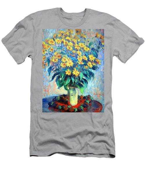 Men's T-Shirt (Slim Fit) featuring the photograph Monet's Jerusalem  Artichoke Flowers by Cora Wandel
